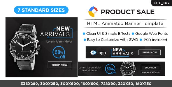 HTML5 E-Commerce Banners - GWD - 7 Sizes (ELT107)
