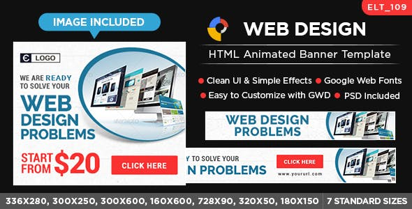Web & Graphics HTML5 Banners - GWD - 7 Sizes (Elite-CC-109)