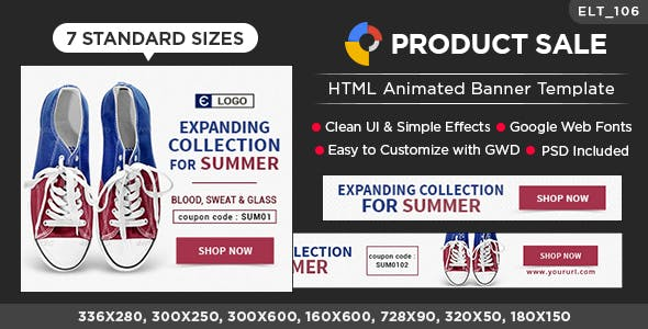 HTML5 E-Commerce Banners - GWD - 7 Sizes (Elite-CC-106)
