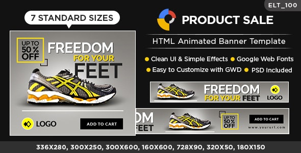 HTML5 E-Commerce Banners - GWD - 7 Sizes (Elite-CC-100) - CodeCanyon Item for Sale