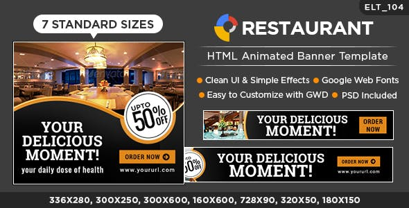 Restaurant HTML5 Banners - GWD - 7 Sizes (Elite-CC-104)