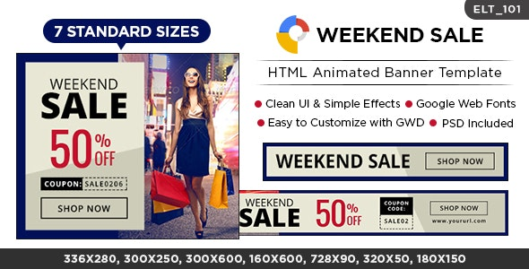 Weekend Sale HTML5 Banners - GWD - 7 Sizes (Elite-CC-101) - CodeCanyon Item for Sale
