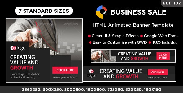 Business HTML5 Banners - GWD - 7 Sizes (Elite-CC-102) - CodeCanyon Item for Sale