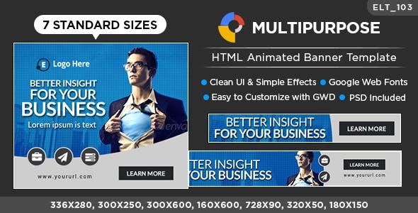 HTML5 Multi Purpose Banners - GWD - 7 Sizes (Elite-CC-103)