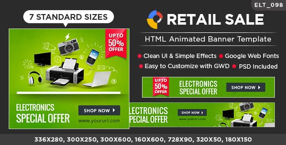 Retail Sale HTML5 Banners - GWD - 7 Sizes (BEE-CC-105)