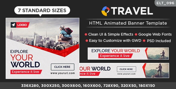 Tours & Travel  HTML5 Banners - 7 Sizes ( Elite-CC-096) - CodeCanyon Item for Sale