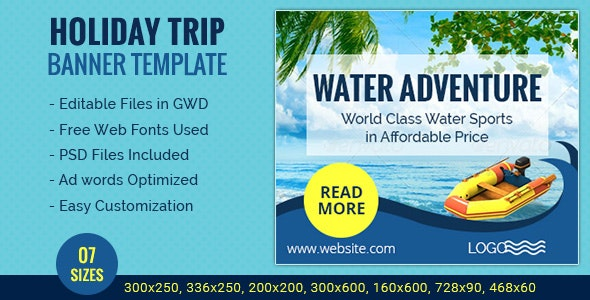 GWD   Holiday Travel HTML5 Banners - 07 Sizes - CodeCanyon Item for Sale