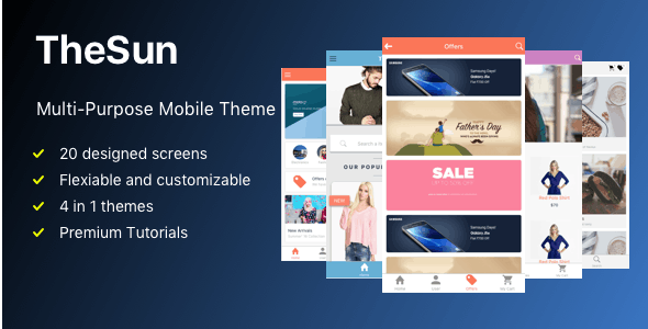 TheSun Multi-Purpose Mobile Theme - CodeCanyon Item for Sale