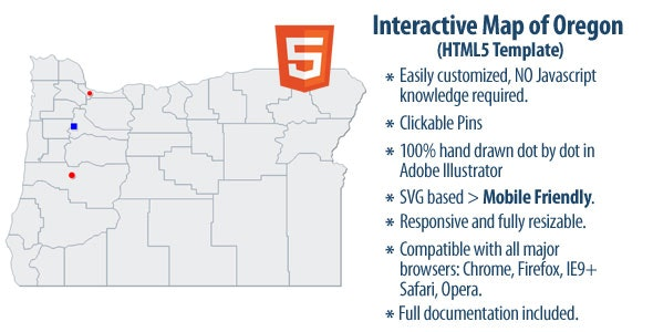 Interactive Map of Oregon - CodeCanyon Item for Sale
