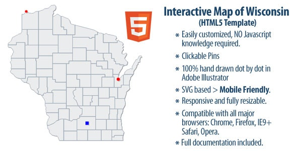 Interactive Map of Wisconsin - CodeCanyon Item for Sale