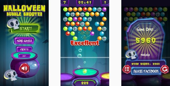 Halloween Bubble Shooter - HTML5 Game, Mobile Version+AdMob!!! (Construct 3 | Construct 2 | Capx)
