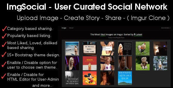 Image Story Sharing Social Network - Imgur Clone