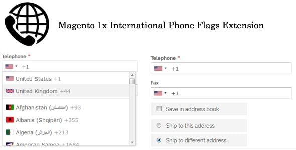 Magento 1x International Phone Flags Extension