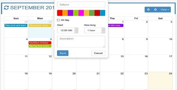 OtxFullcalendar - Responsive Full Calendar for your Needs