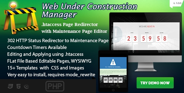 Web Under Construction Manager - Maintenance Page Builder and Redirector - CodeCanyon Item for Sale