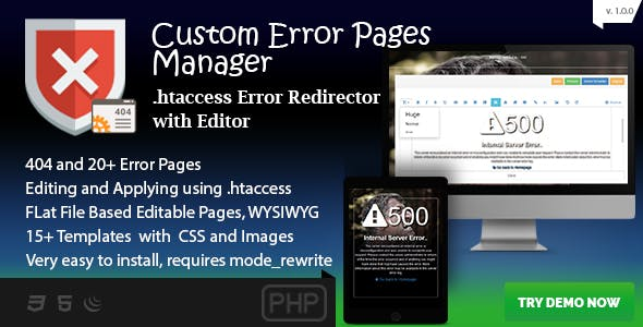 Custom Error Page Manager - 404 and 20+ Template Editor and Redirector
