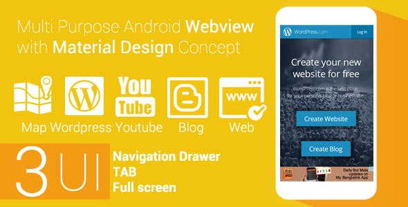 Multi Purpose Android Webview with Material Design