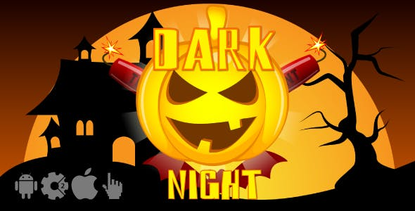 Dark night - HTML5 Halloween game. Construct2 (.capx) + Cocoon ADS
