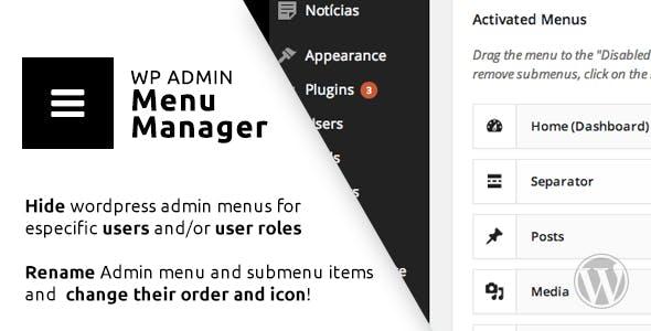 WP Admin Menu Manager        Nulled