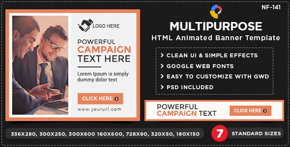 HTML5 Multi Purpose Banners - GWD - 7 Sizes(NF-CC-141) - CodeCanyon Item for Sale
