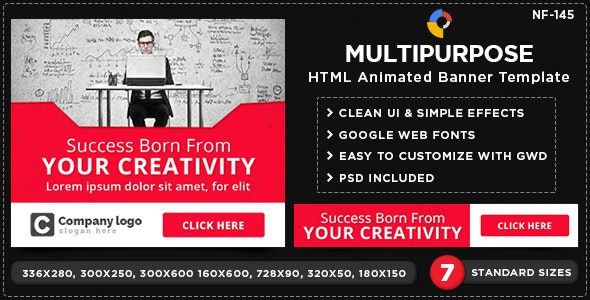 Multipurpose HTML5 Banners - GWD - 7 Sizes(NF-CC-145) - CodeCanyon Item for Sale