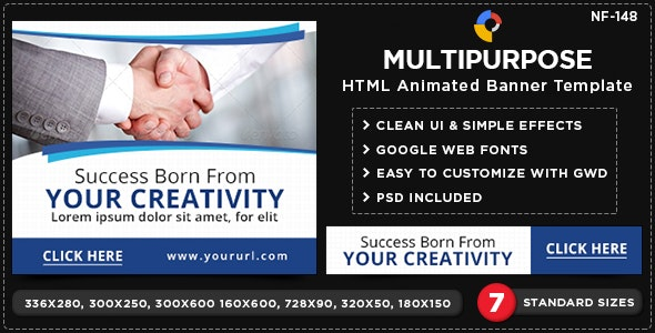 Multi Purpose HTML5 Banners - GWD - 7 Sizes(NF-CC-148) - CodeCanyon Item for Sale