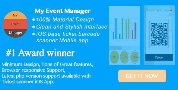 My Event Manager - 100% Material Design Backend with easy integration in Wordpress with iOS App.