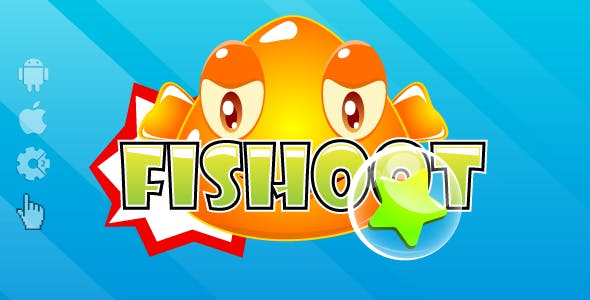 Fishoot - HTML5 game. Construct2 (.capx) + cocoon ADS + Mobile control