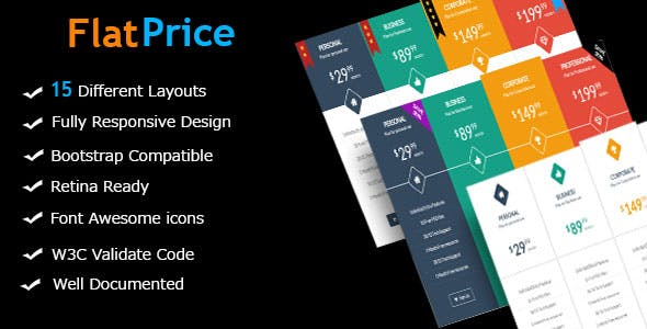 FlatPrice - Responsive Bootstrap Pricing Tables