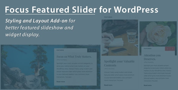 Focus WordPress Featured Slider Styling Add-on - CodeCanyon Item for Sale