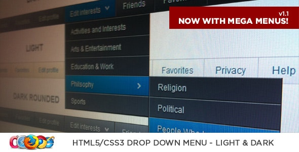 HTML5/CSS3 Drop Down Menu - CodeCanyon Item for Sale