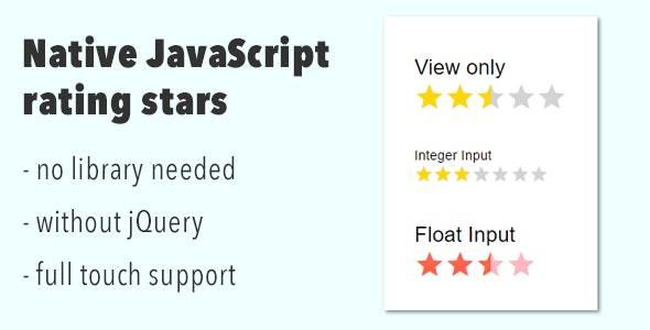 Native JavaScript Rating Stars - CodeCanyon Item for Sale