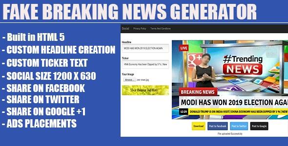 Fake Breaking News Headline Generator by jlords | CodeCanyon