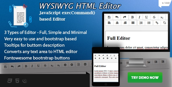 WYSIWYG HTML Editor - Bootstrap based Rich Text Editor - CodeCanyon Item for Sale