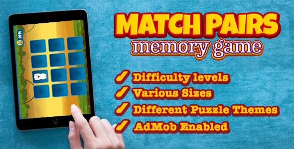 Match Pairs Memory Game - CodeCanyon Item for Sale