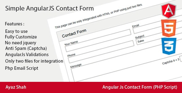 Simple AngularJs Contact Form - CodeCanyon Item for Sale