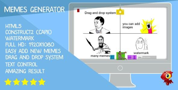 Memes generator - HTML5. Construct2 (.capx)