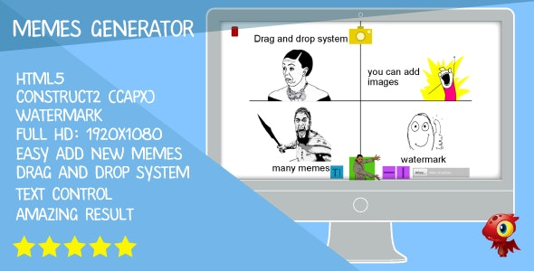 Memes generator - HTML5. Construct2 (.capx) - CodeCanyon Item for Sale