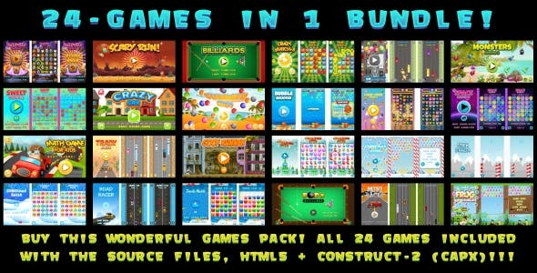 24-GAMES IN 1 BUNDLE! (Construct 3 | Construct 2 | Capx)