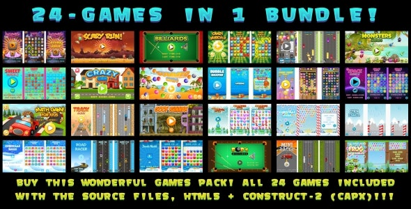 24-GAMES IN 1 BUNDLE! (Construct 3 | Construct 2 | Capx) - CodeCanyon Item for Sale