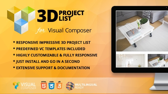 3D Project List Addon for WPBakery Page Builder (formerly Visual Composer) - CodeCanyon Item for Sale