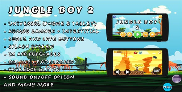 Jungle Boy 2 Android Game, Easy to reskin. Admob Ads, IAP, Multiple characters, And more