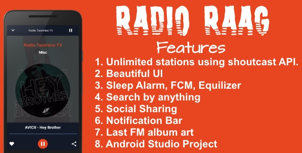 Radio Raag - Streaming App with Shoutcast API - CodeCanyon Item for Sale