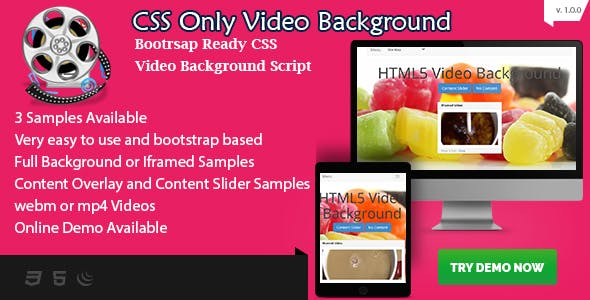 CSS Video Background - Bootstrap Ready with Content Overlay - HTML5