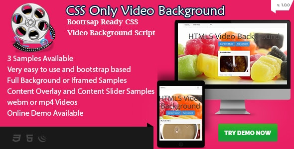 CSS Video Background - Bootstrap Ready with Content Overlay