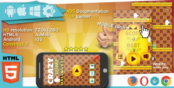 Crazy jump halloween - HTML5 game. Construct2 (.capx) + Top banner AdMob