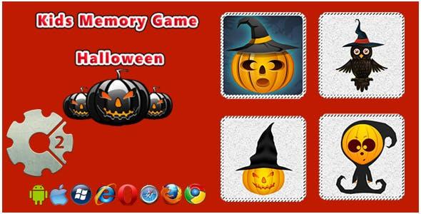 Kids Memory Game - Halloween HTML5 Game
