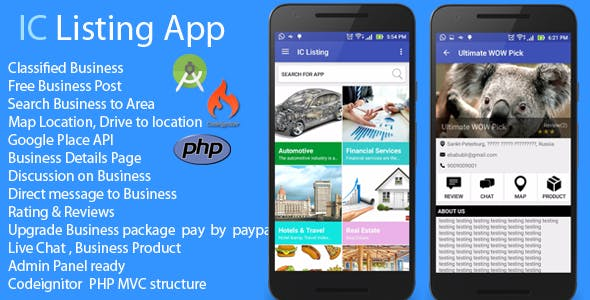 Android App - IC Listing Classified Search Engine