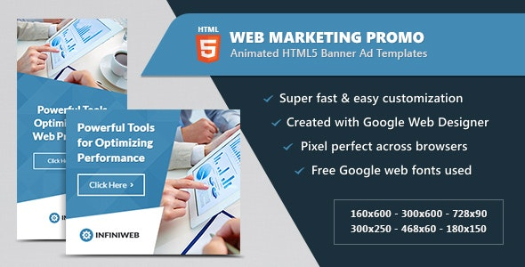 Animated HTML5 Web Marketing Promo Banners Ads - CodeCanyon Item for Sale