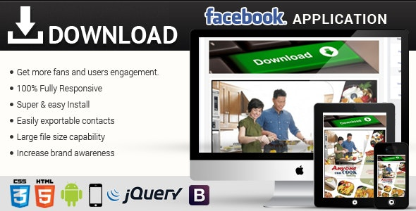 Facebook Download Responsive Application - CodeCanyon Item for Sale